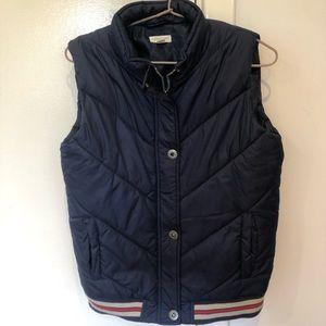 Kids navy blue zip and button up puffer vest
